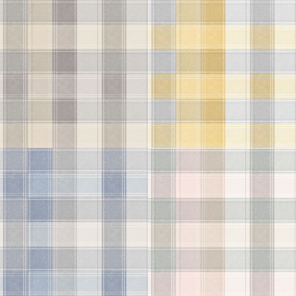 Feature Tartan Cheque Stripe Arthouse Country Check Pink Grey Wallpaper 901900