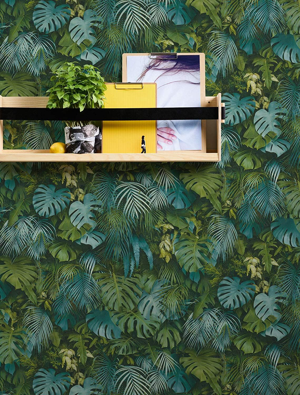 Modern Bold 3D Tropical Palm Leaf Wallpaper Green AS Creation 36201-1