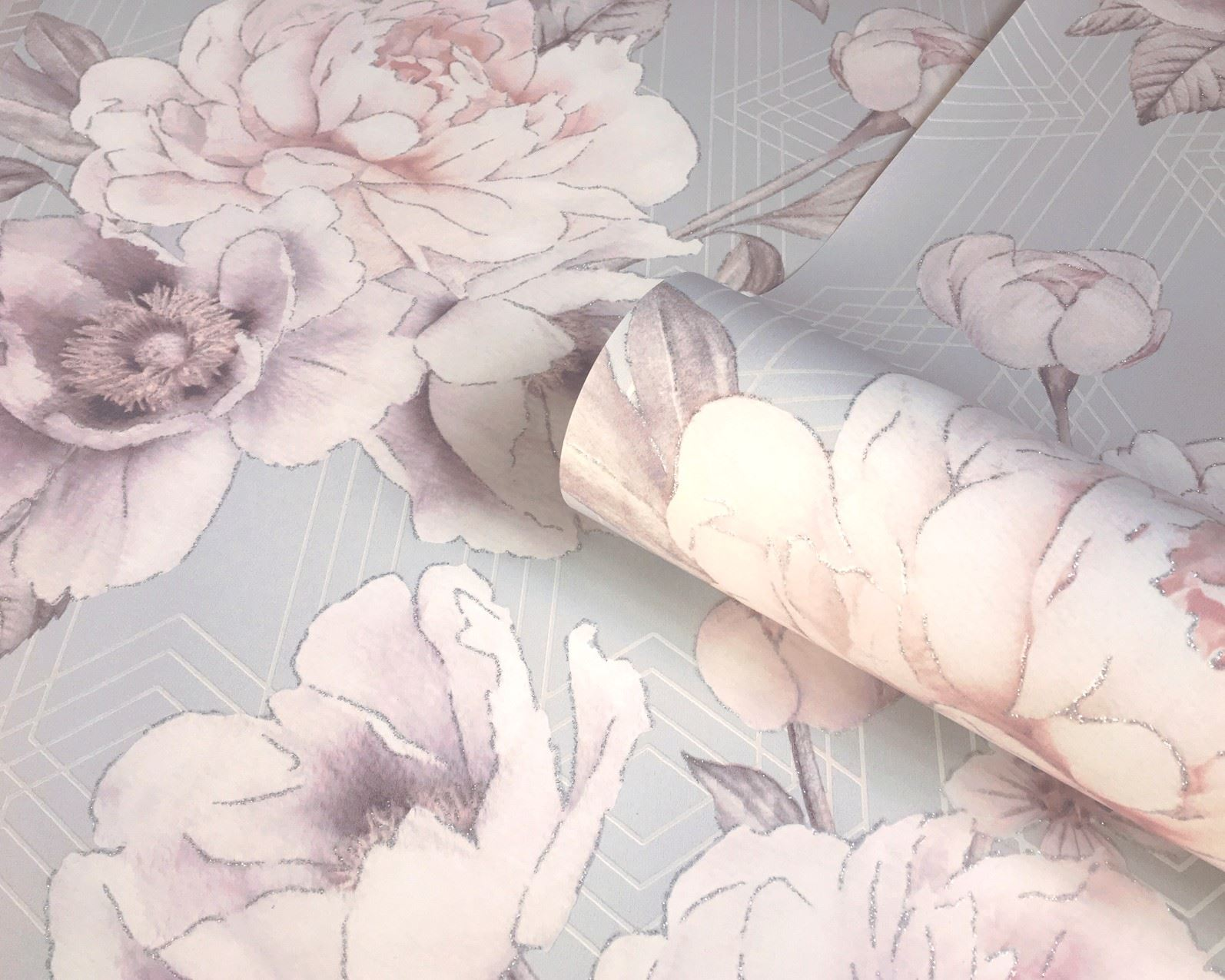Belgravia Decor Geometric Floral Glitter Smooth Stripe Pastel