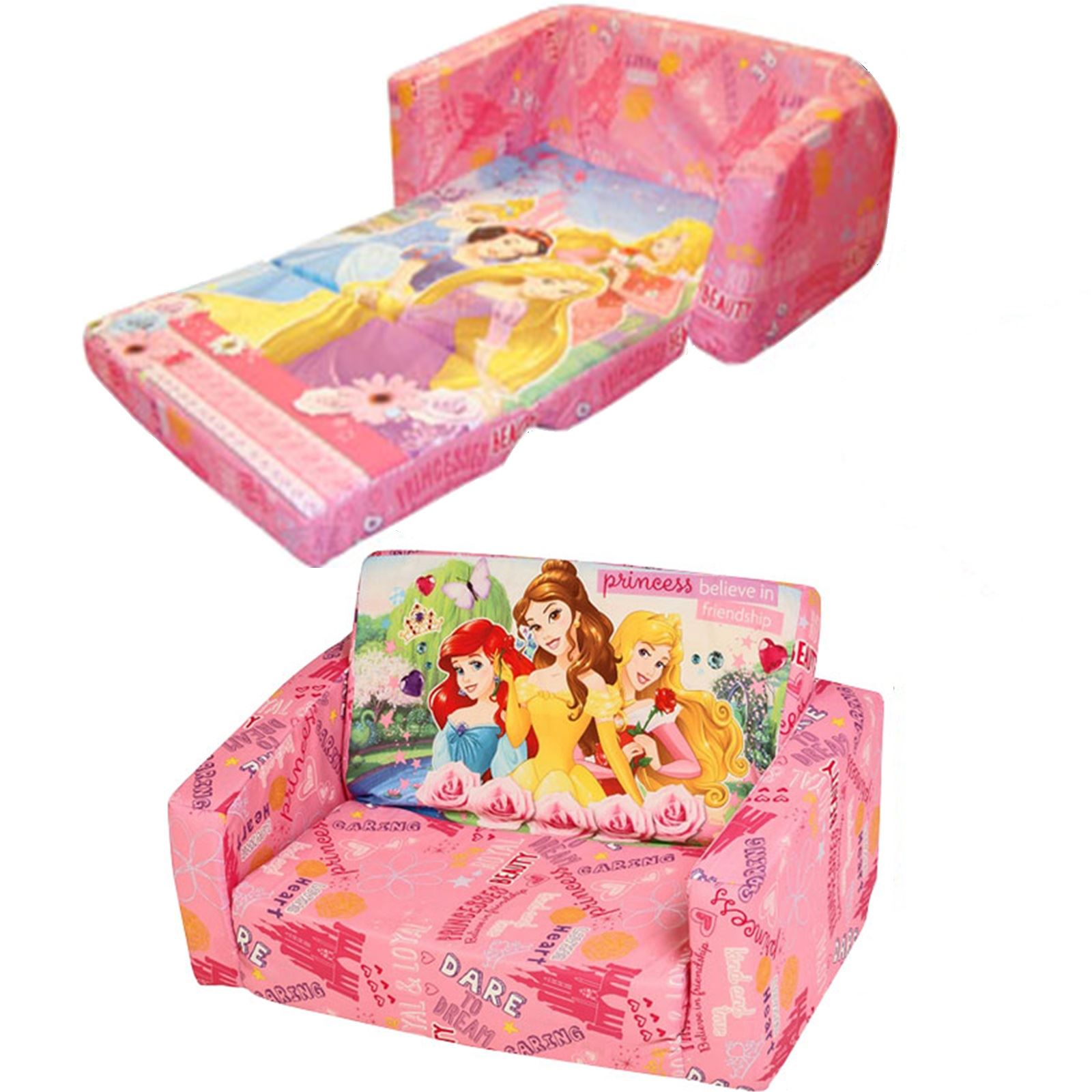 disney childrens flip out double foam sofa settee kids couch lounger bed seat ebay. Black Bedroom Furniture Sets. Home Design Ideas