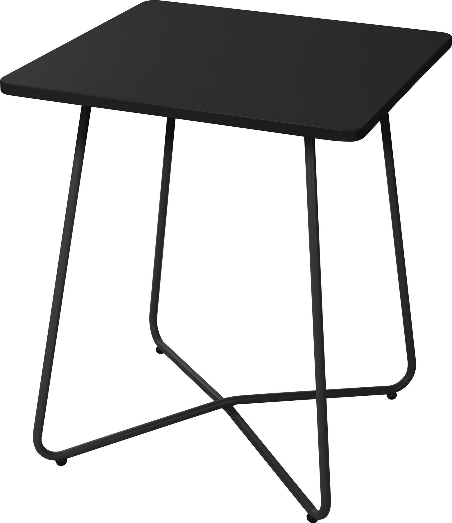 Compact square black metal outdoor bistro table garden patio balcony furniture