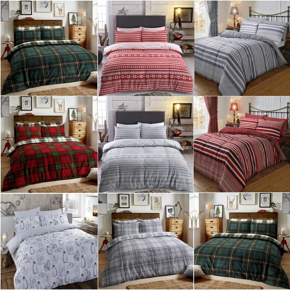 Copripiumino Design.Christmas Brushed Cotton Flannel Reversible Bed Quilt Set Duvet