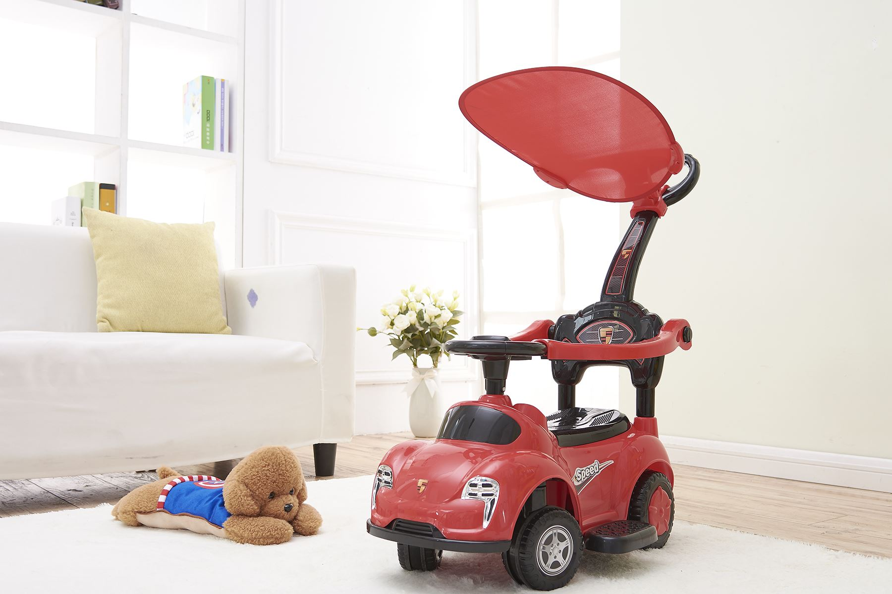 Rexco 3in1 Red Ride On Car Push Along Baby Walker Toddler