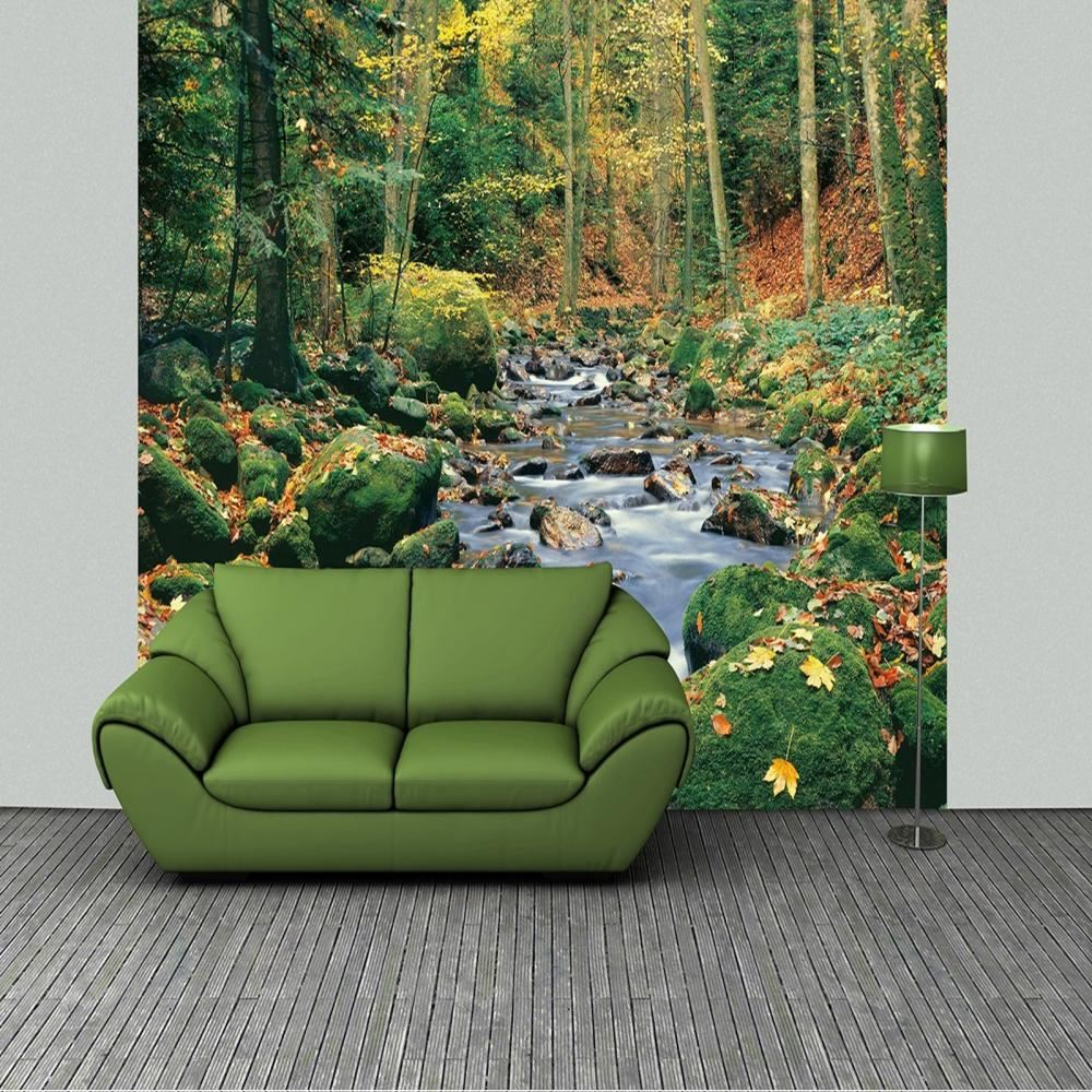 w g wall mural forest stream spring photo poster wallpaper. Black Bedroom Furniture Sets. Home Design Ideas