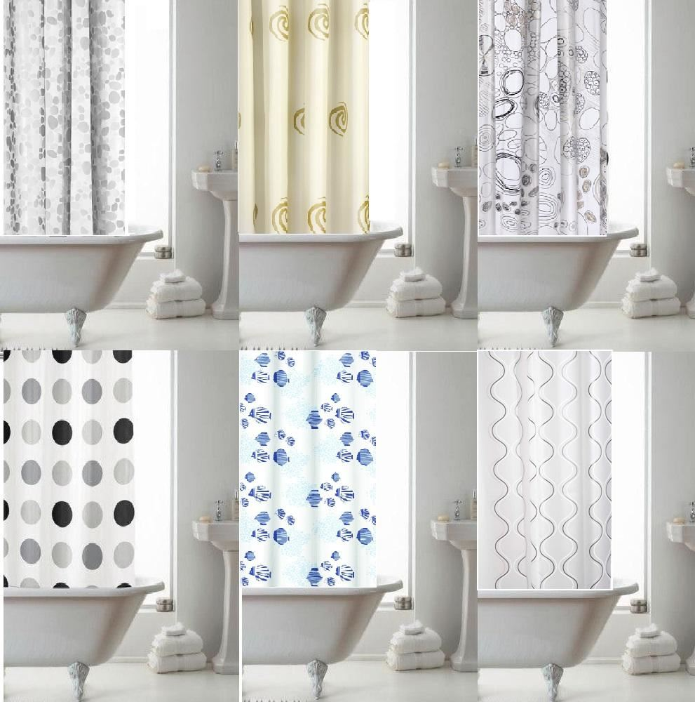 CROYDEX BATHROOM BATH PEVA VINYL TEXTILE EYELET SHOWER CURTAINS 180cm X180cm