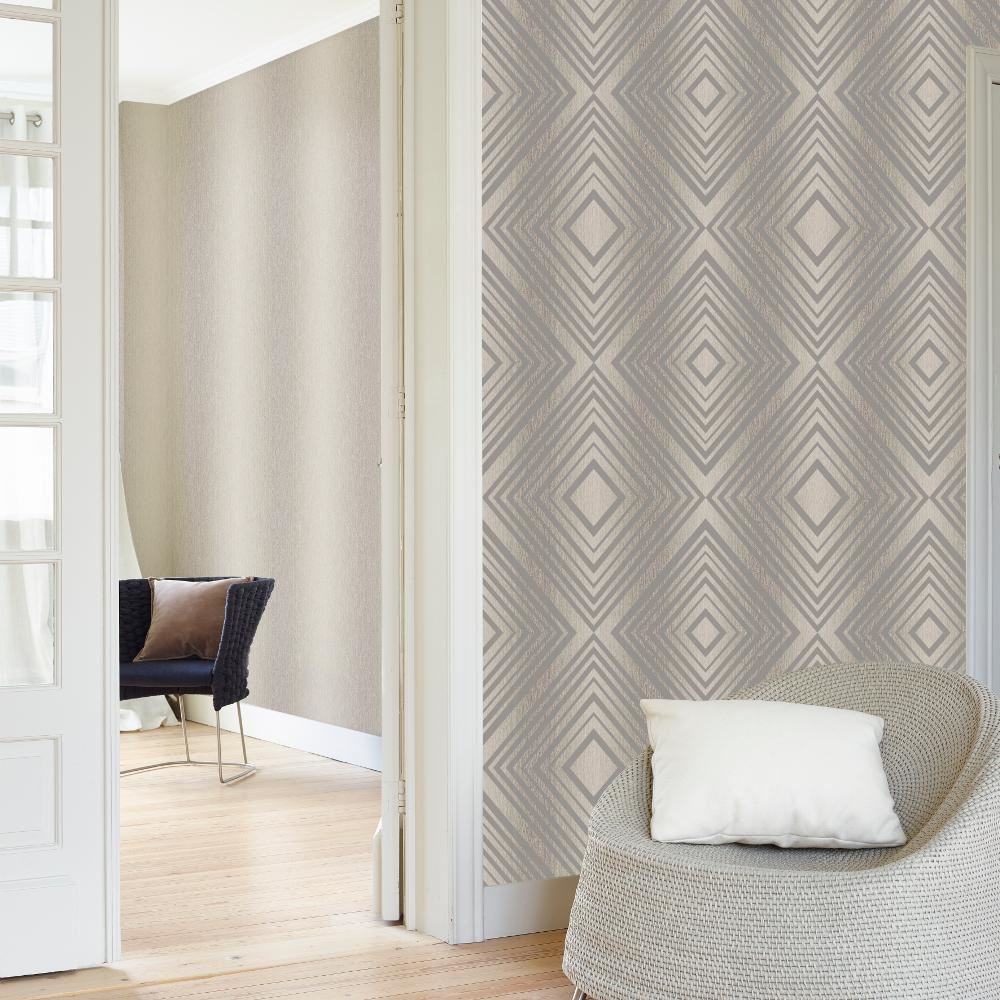 Grandeco Chevron Stripe Pattern Wallpaper Modern Embossed Metallic