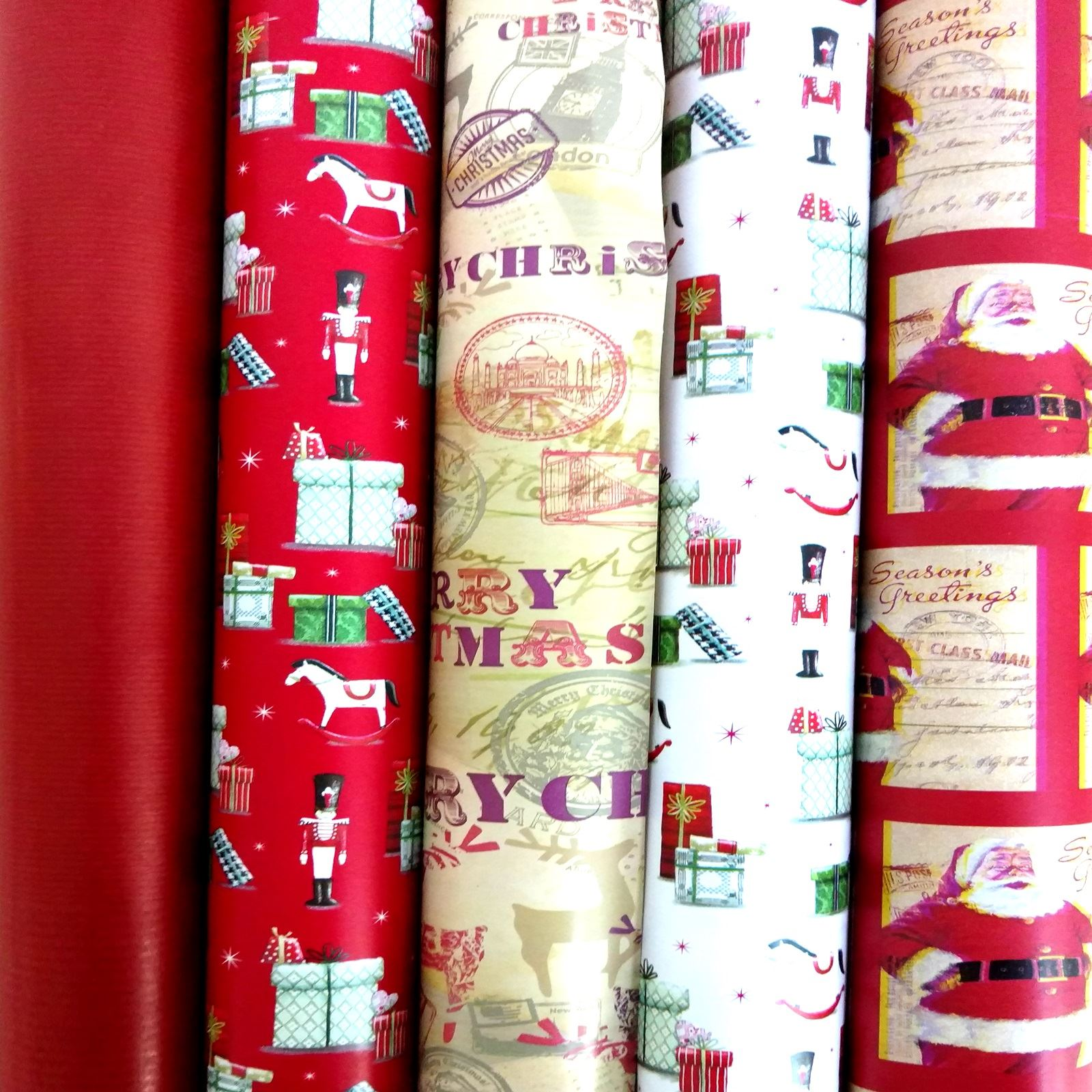 5 X Shiny Metallic Christmas Birthday Present Wrapping