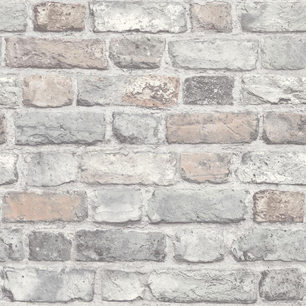 Grandeco Vintage House Brick Pattern Wallpaper Faux Effect