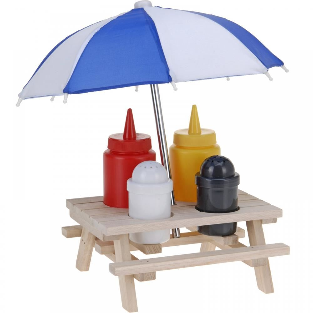 Picnic Table Parasol Salt Pepper Shaker Pot Ketchup Sauce Holder - Picnic table parasol