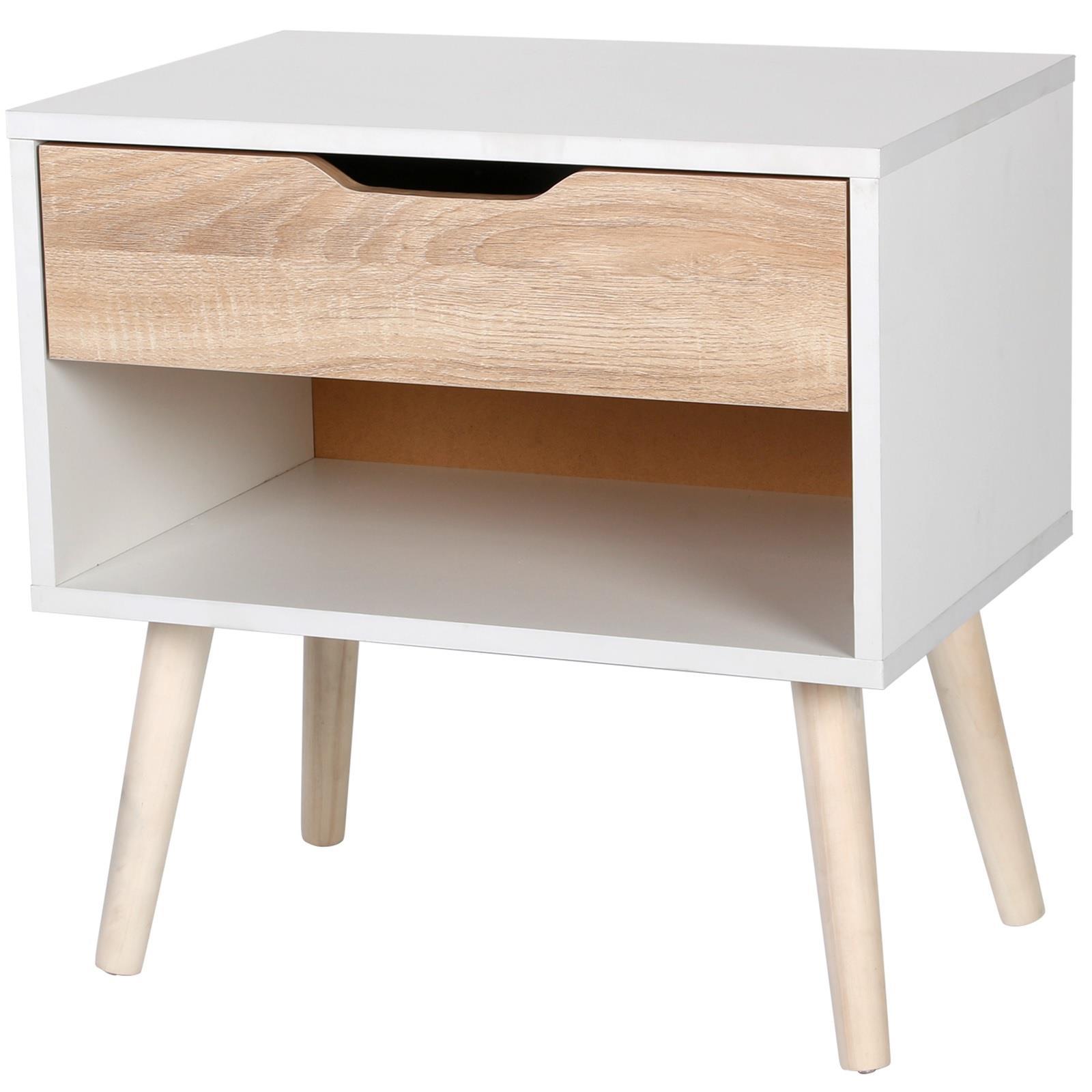 Gr8 Home Bedside Table Scandinavian Nordic Style White Oak Effect Night Stand 5057102007630 Ebay