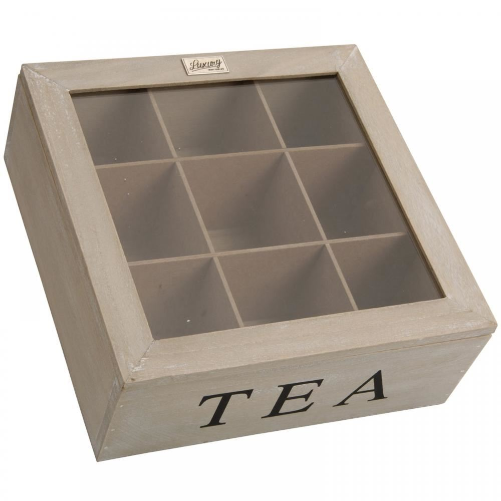 Square Plain Large Wooden Storage Box Tea Bag Chest And Clear Lid 9  Compartments
