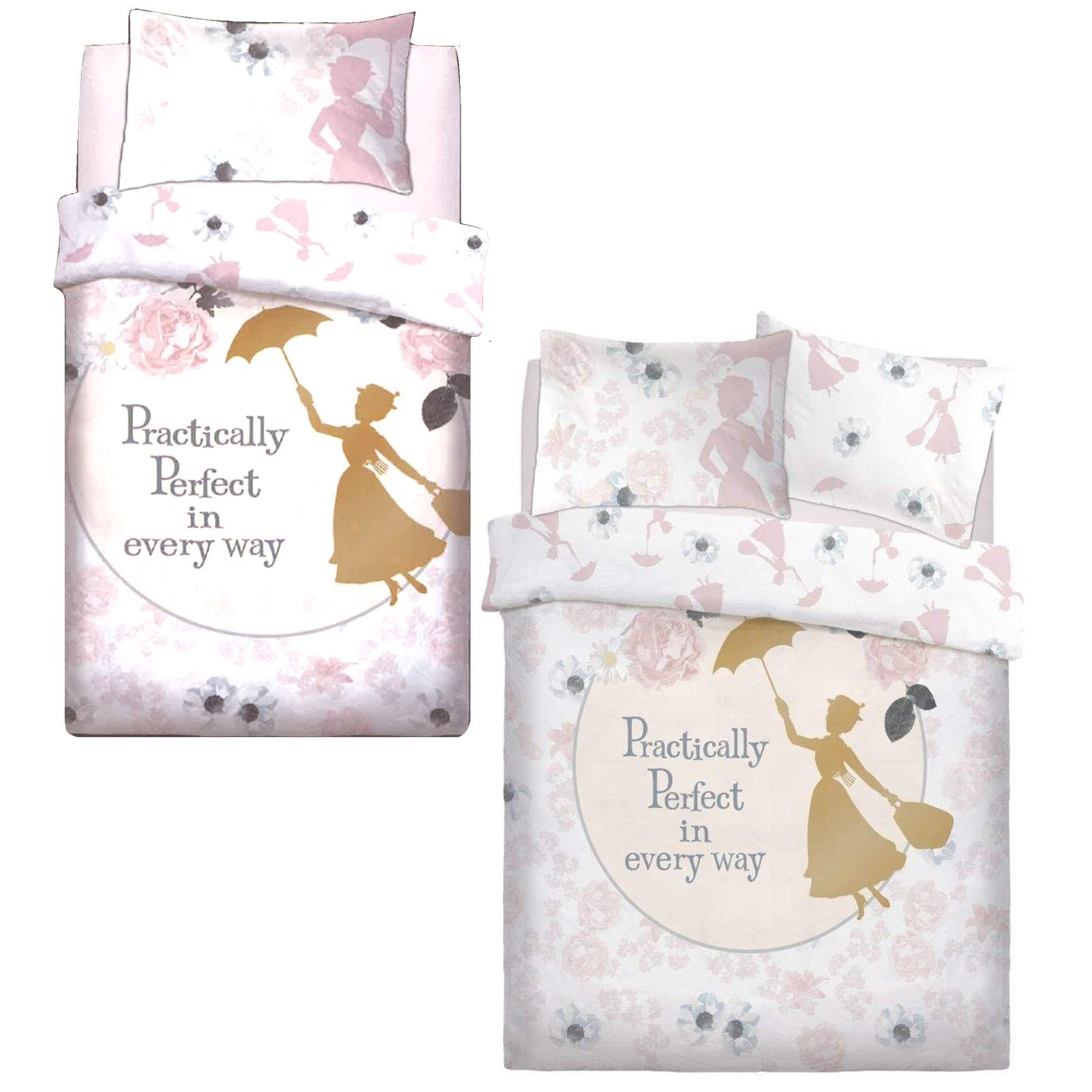 OFFICIAL MARY POPPINS PERFECT SINGLE DUVET COVER SET REVERSIBLE BEDDING DISNEY
