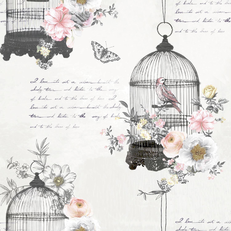 Details zu Arthouse Strass Vogelkäfig Vintage Shabby Chic Schmetterling  Tapete 259700