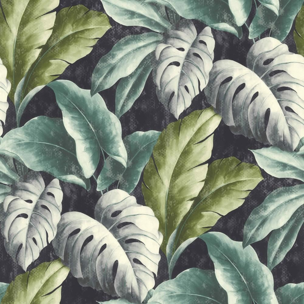 grandeco botanical tropical leaves pattern wallpaper tree leaf textured motif