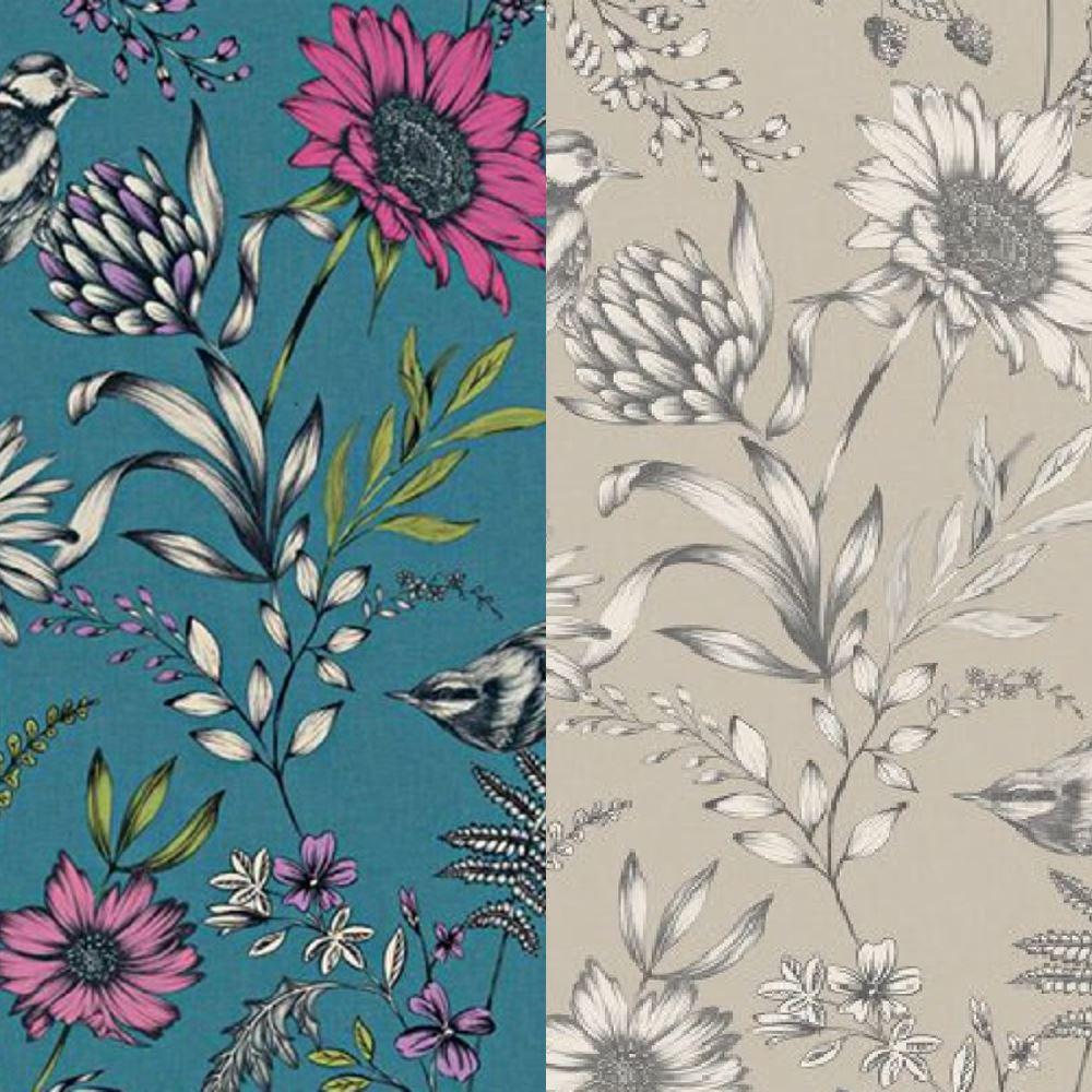 Arthouse Botanical Songbird Detailed Flower Leaf Pattern Exotic Wallpaper