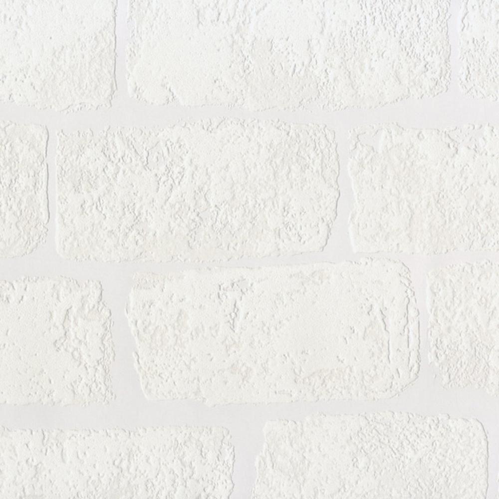 Textured paintable wallpaper - Anaglypta Lincolnshire White Brick Pattern Textured Paintable Wallpaper Rd812