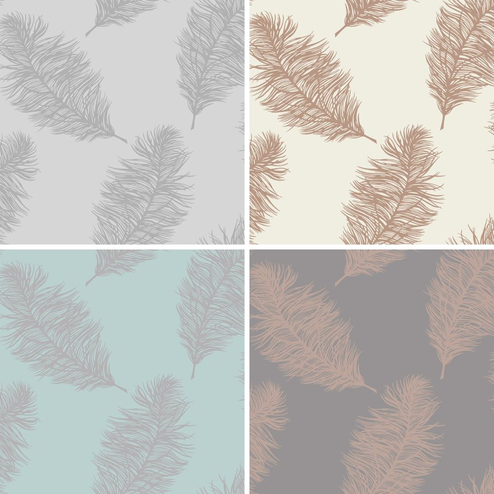 Holden Fawning Feather Pattern Wallpaper Metallic Motif Bird Fern Leaf