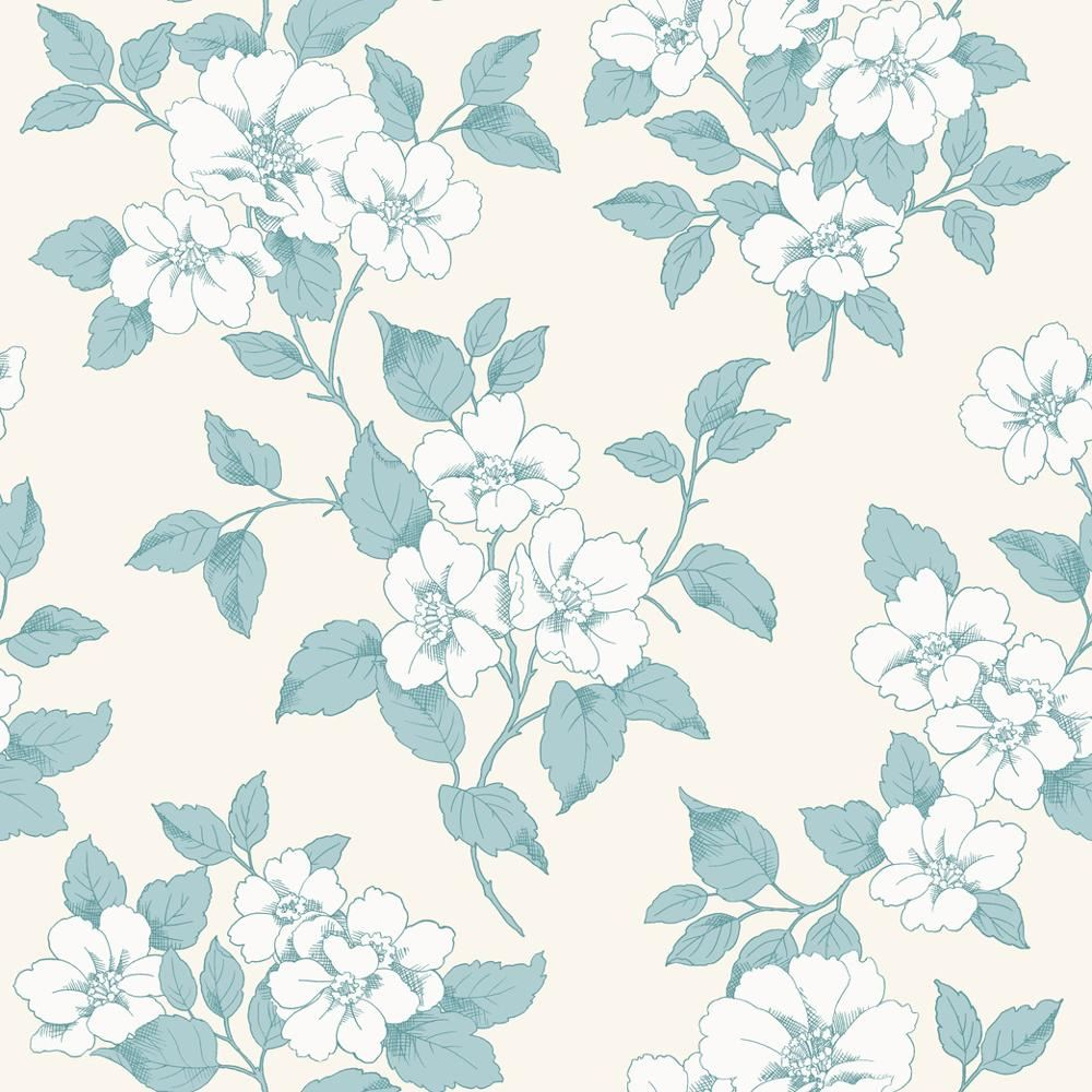 New rasch jardin floral leaf pattern silver teal flower for Jardin floral