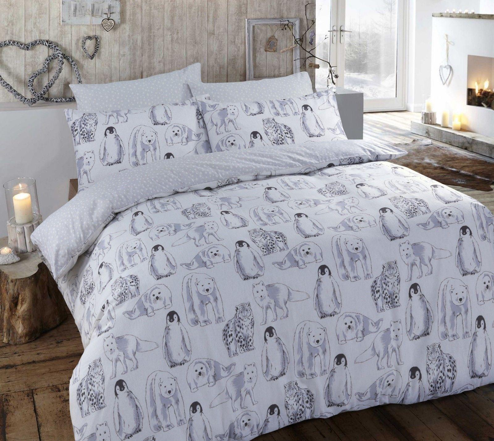 Cos E Un Copripiumino.Christmas Brushed Cotton Flannel Reversible Bed Quilt Set Duvet