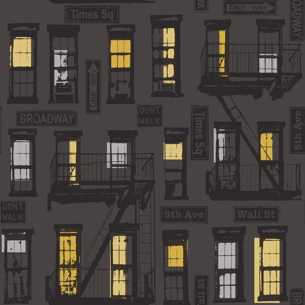 Details Sur Nouveau Rasch Portefeuille New York Urbain Motif Noir Argente Imprime Papier