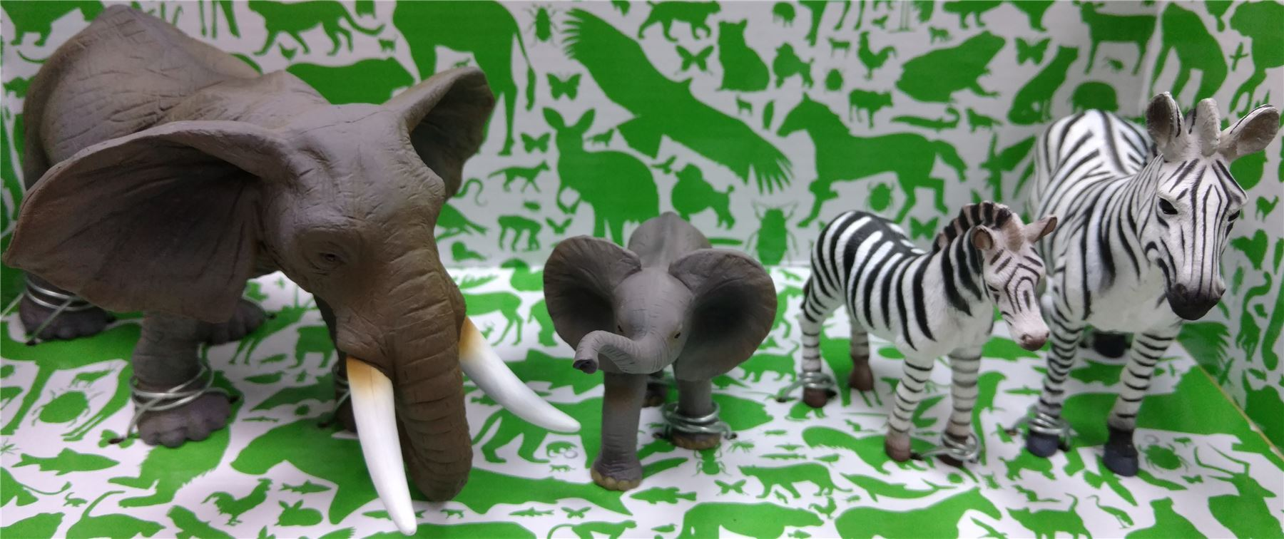 Animal Planet Mojo Deluxe 4 Pc Elephant And Zebra Toy Replica Figure Model Set
