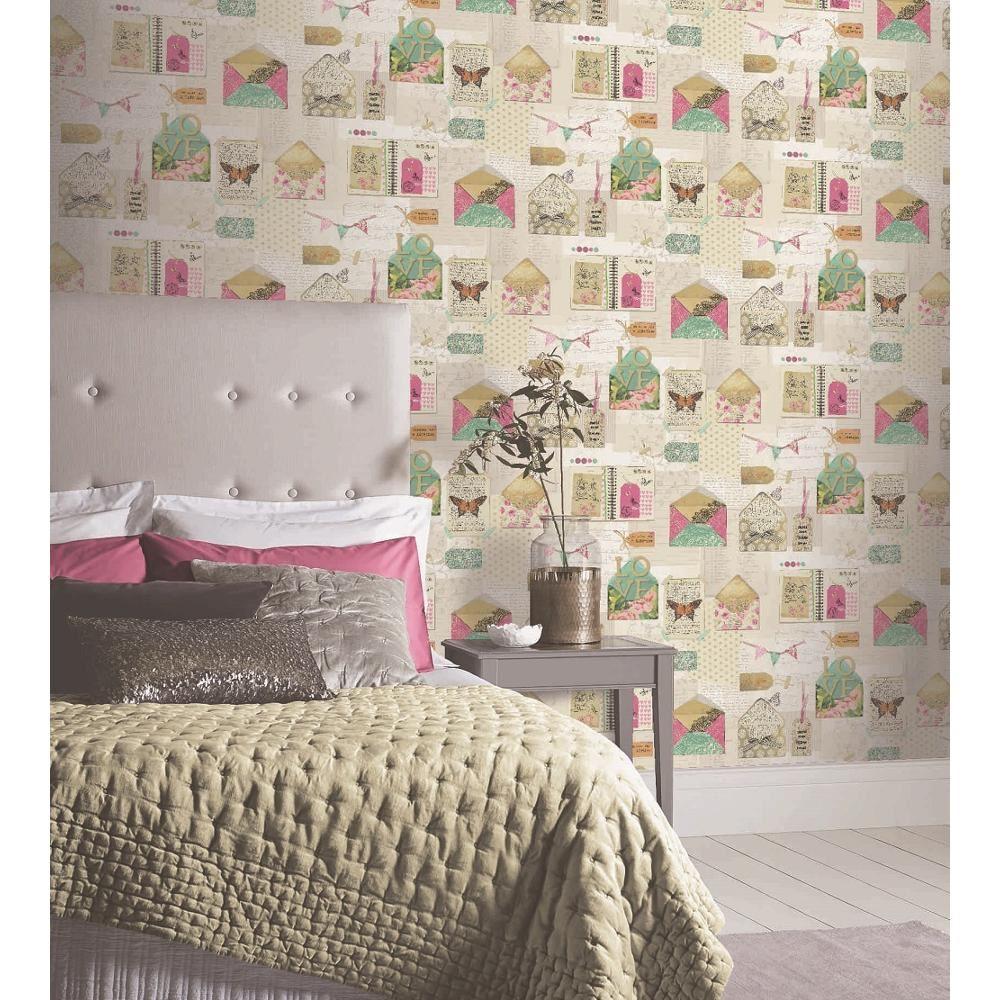 Arthouse Love papier peint PS I Love You Crème Vert Lettres Rose Papillon Fleur