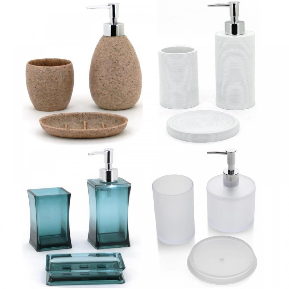 3 Pièce Céramique Set salle de bain salle de bain gobelet savon distributeur porte-savon NEUF