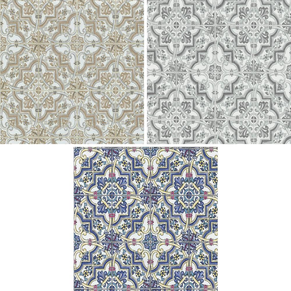 P s international barroco azulejo patr n de papel tapiz for Papel pintado imitacion azulejo