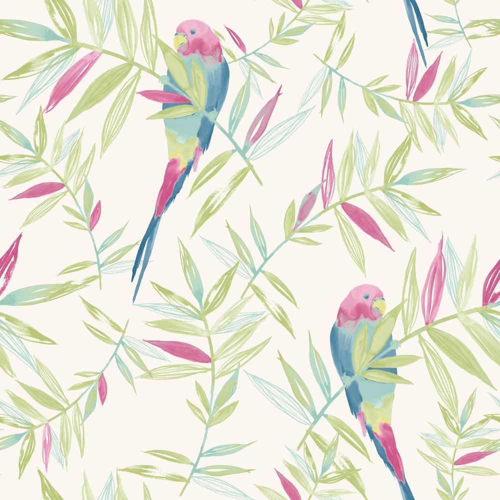 new rasch parrots bird pattern tropical leaf leaves painted motif