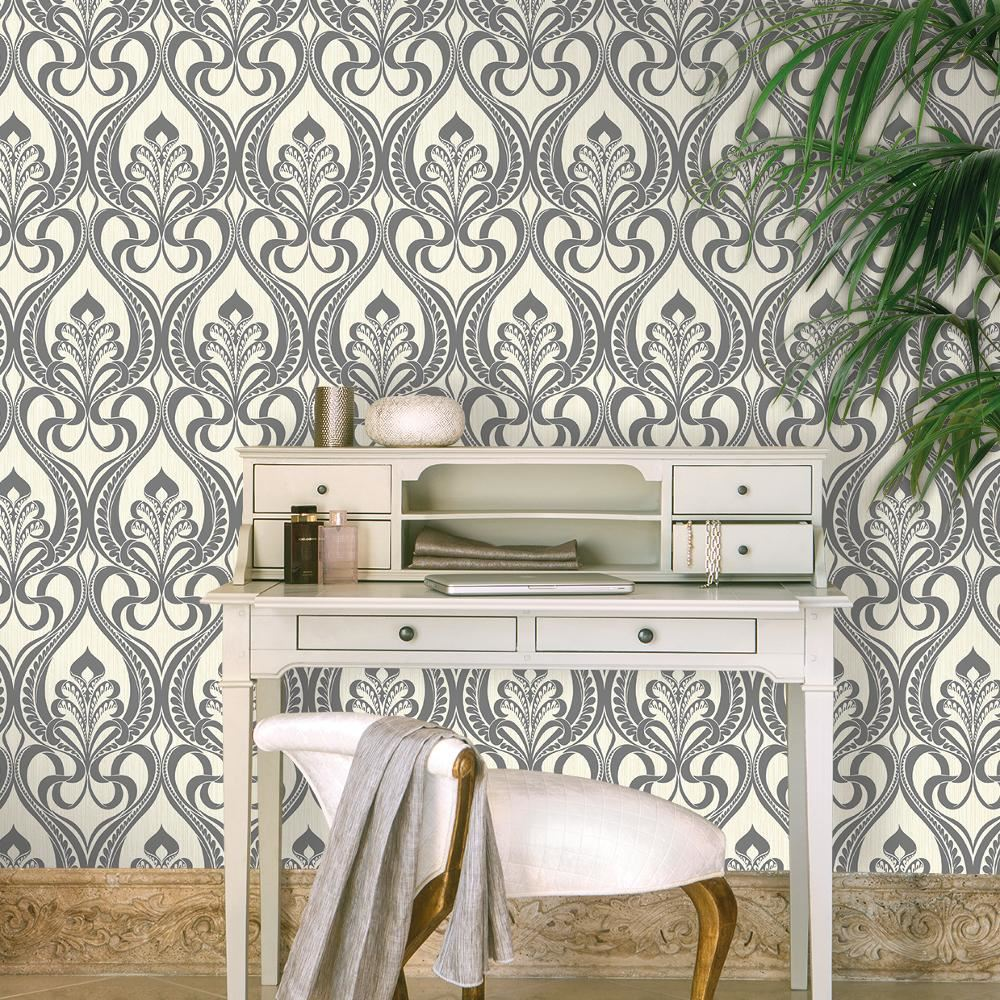 grandeco art nouveau motif damas papier peint art d co m tallique paillettes ebay. Black Bedroom Furniture Sets. Home Design Ideas