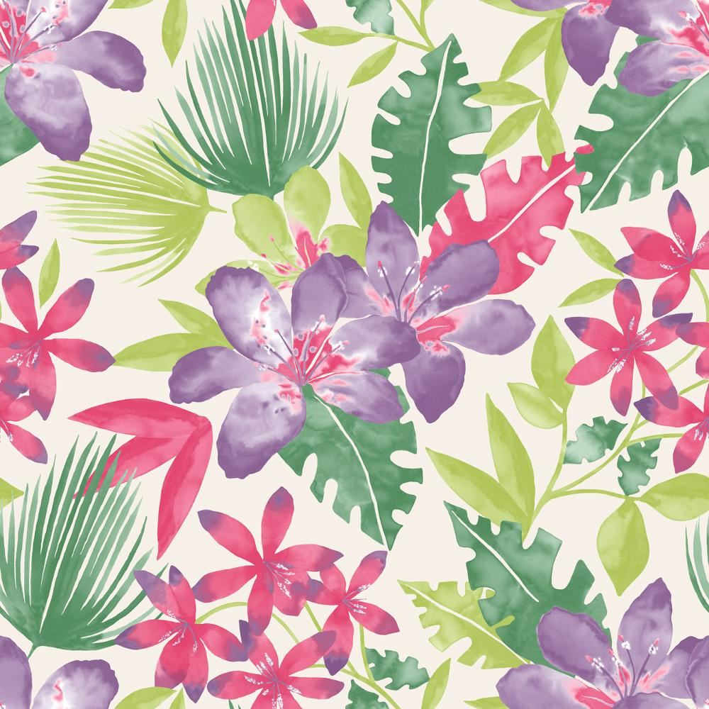NEW RASCH PARADISE FLOWERS PATTERN TROPICAL FLORAL LEAF