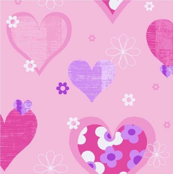 NEW LUXURY ARTHOUSE HAPPY HEARTS FLOWERS GIRLS CHILDRENS KIDS - Girls flower bedroom wallpaper