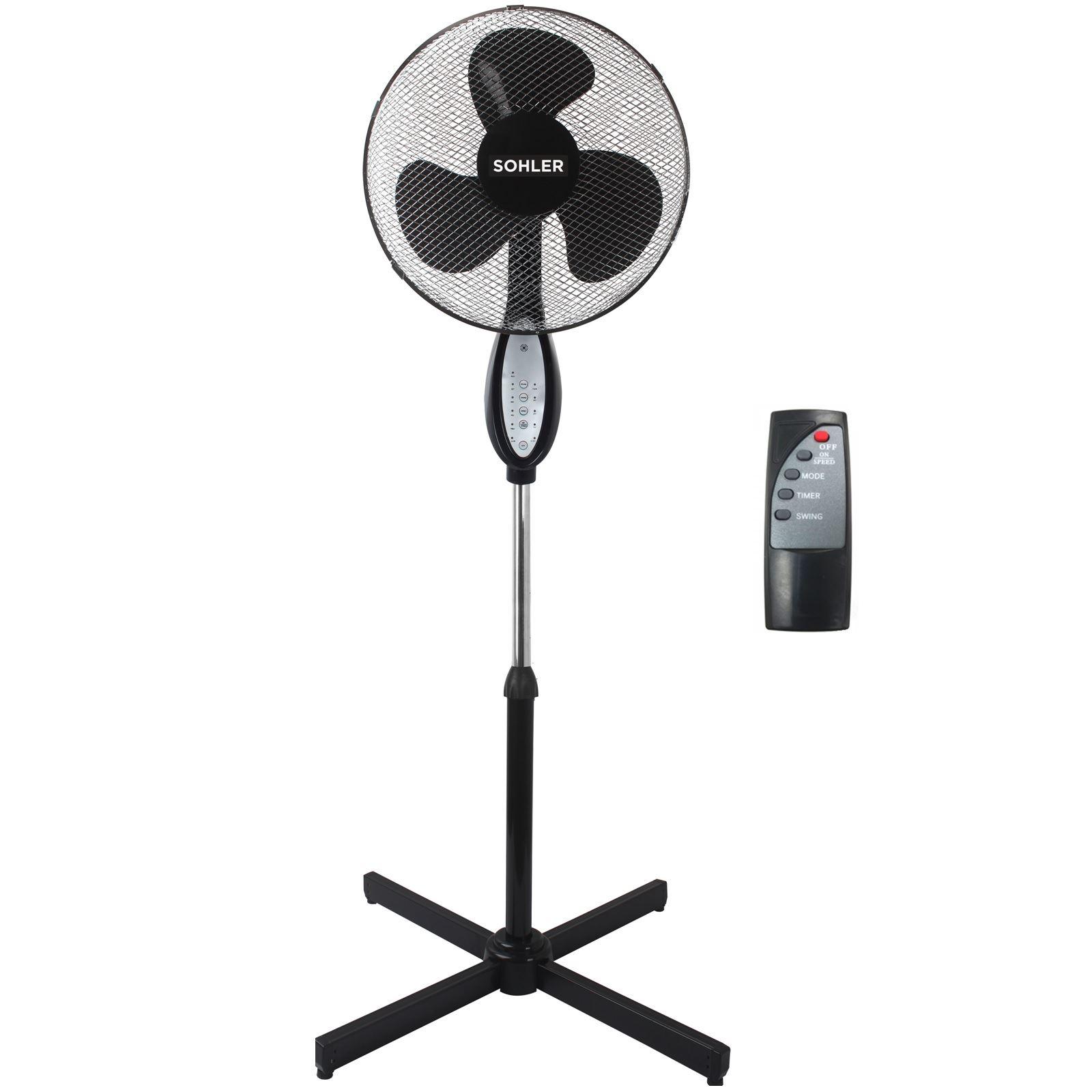 Details Sur Noir Telecommande Debout Piedestal Stand Ventilateur Reglable Oscillant Rotatif