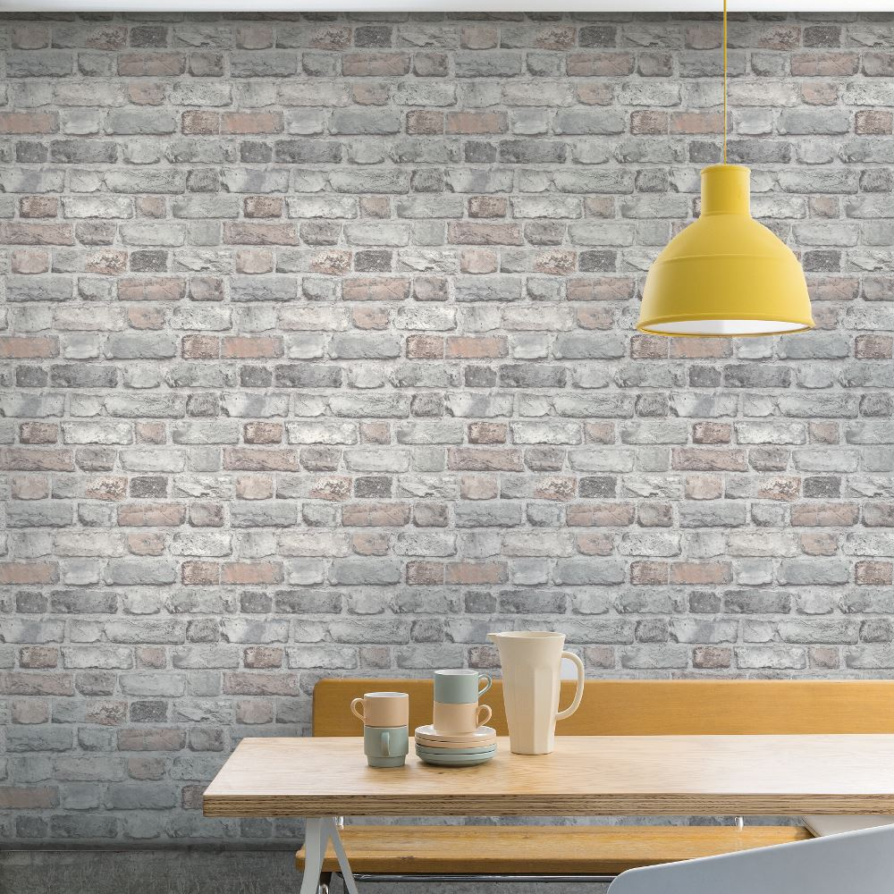 Grandeco Vintage House Brick Pattern Wallpaper Faux Effect