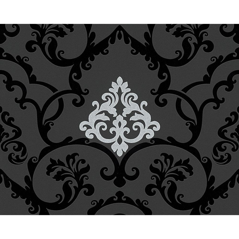 as creation beflockt damask muster tapete modern gepr gt. Black Bedroom Furniture Sets. Home Design Ideas