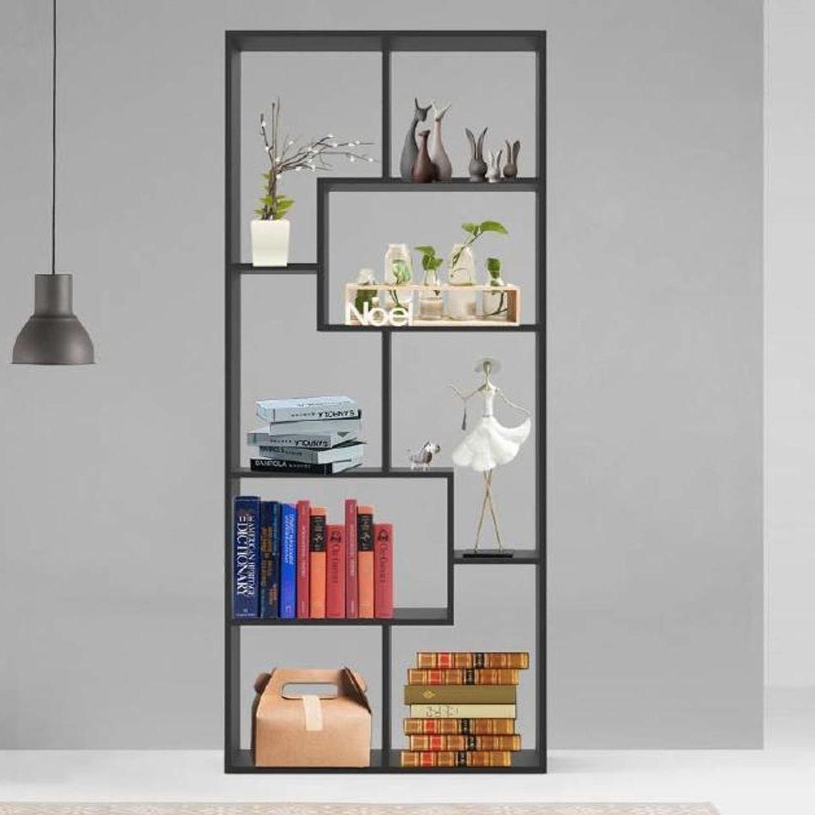 Details About Wooden Black Open Shelving Bookcase Shelf Room Divider Storage Unit Rack Display