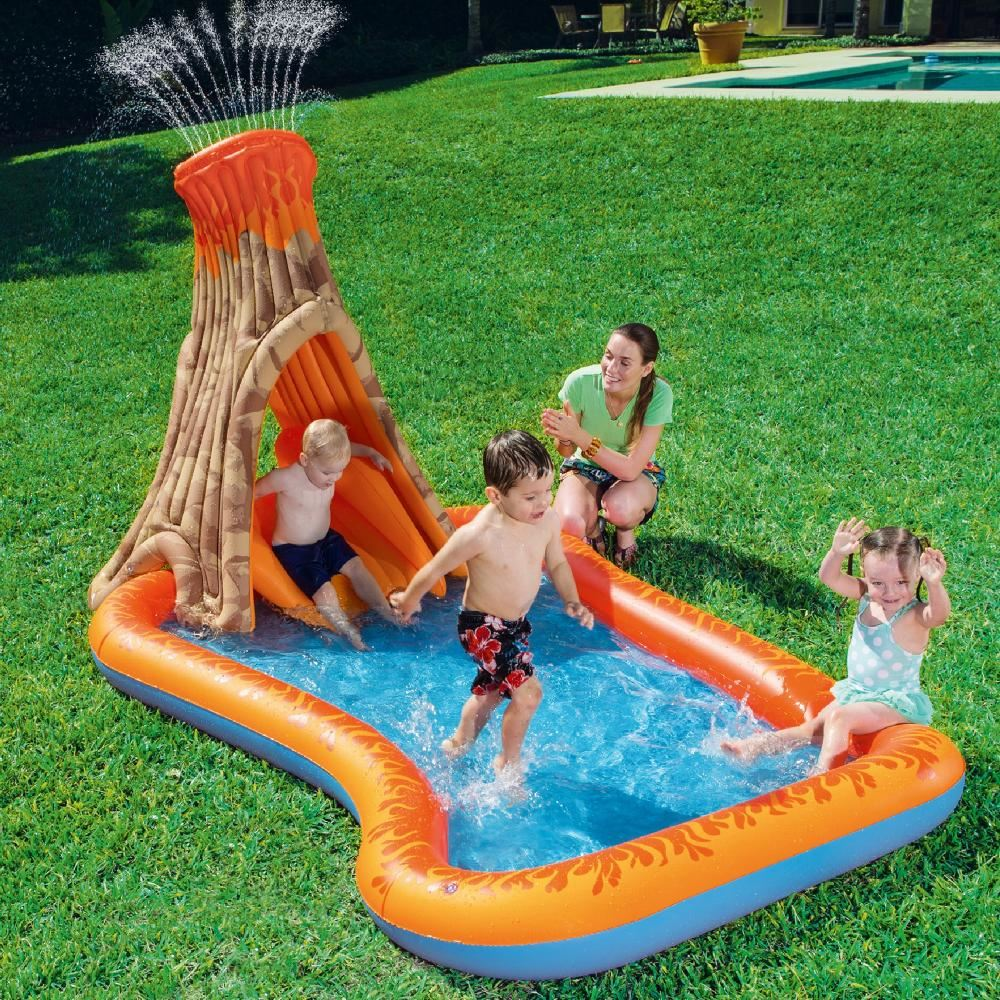 Details about Bestway Volcano Splash Island Inflatable Paddling Swimming  Pool Slide Garden Toy