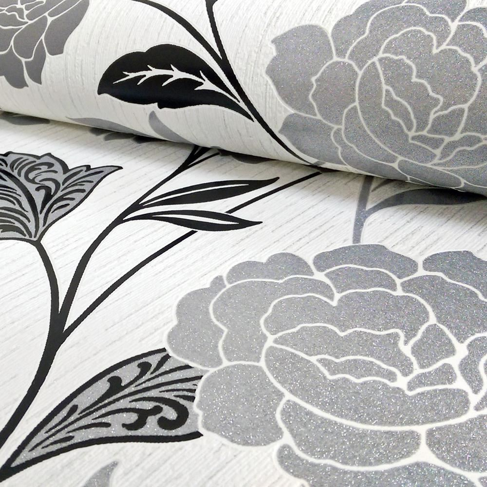 Arthouse Carla Floral Rose Pattern Wallpaper Glitter Motif Modern