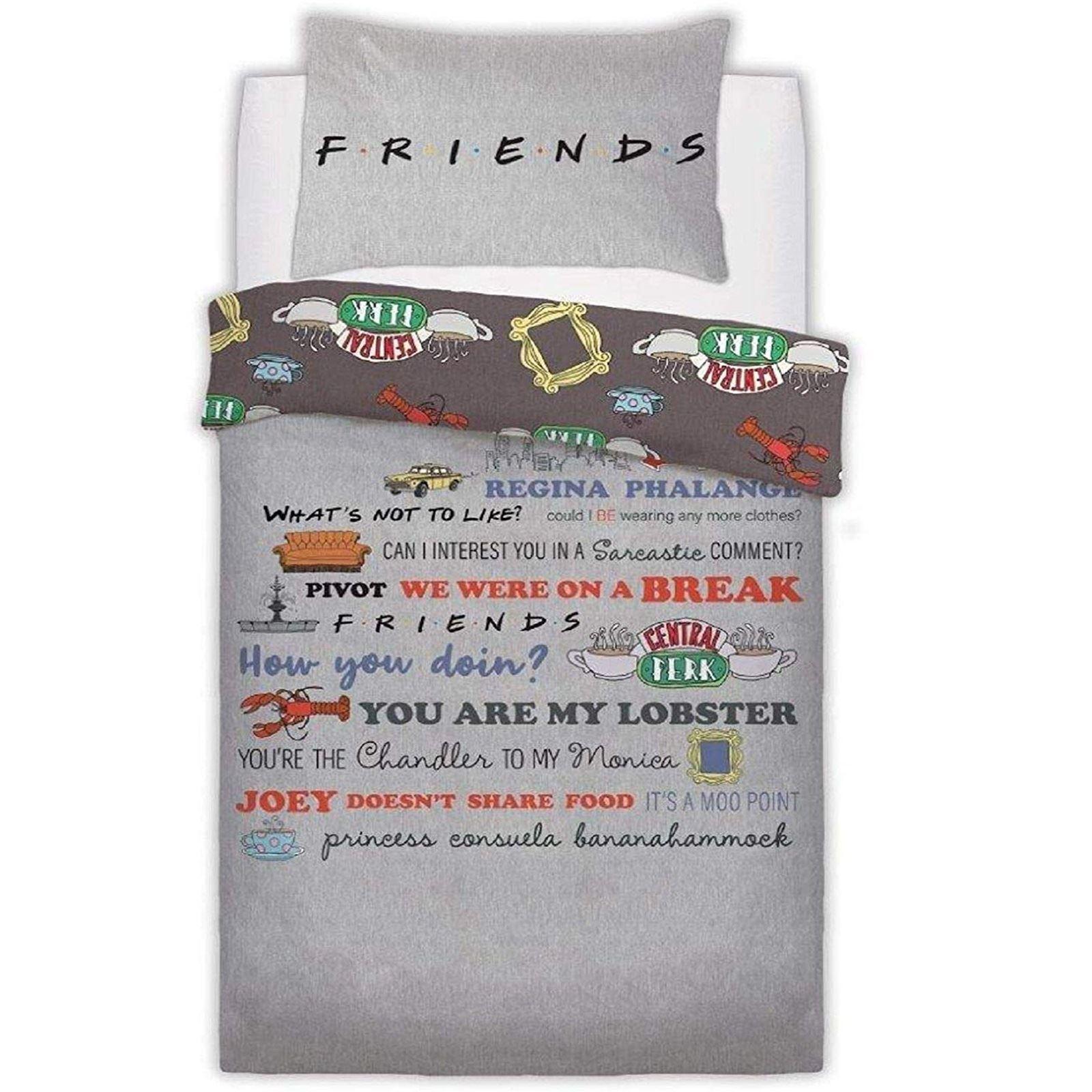 Friends Tv Series Slogan Reversible Grey Panel Duvet Set