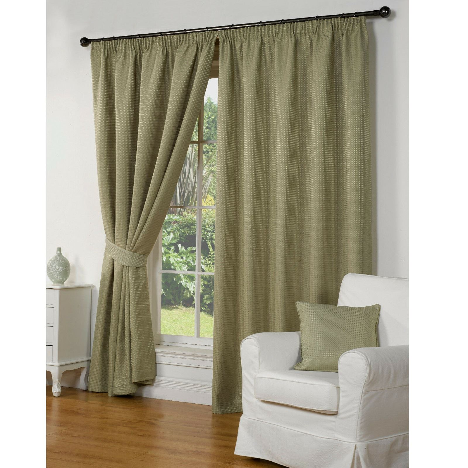 """Luxury Taupe Waffle Effect Lined Pencil Pleat 3"""" Tape Top Ready Made Curtains"""