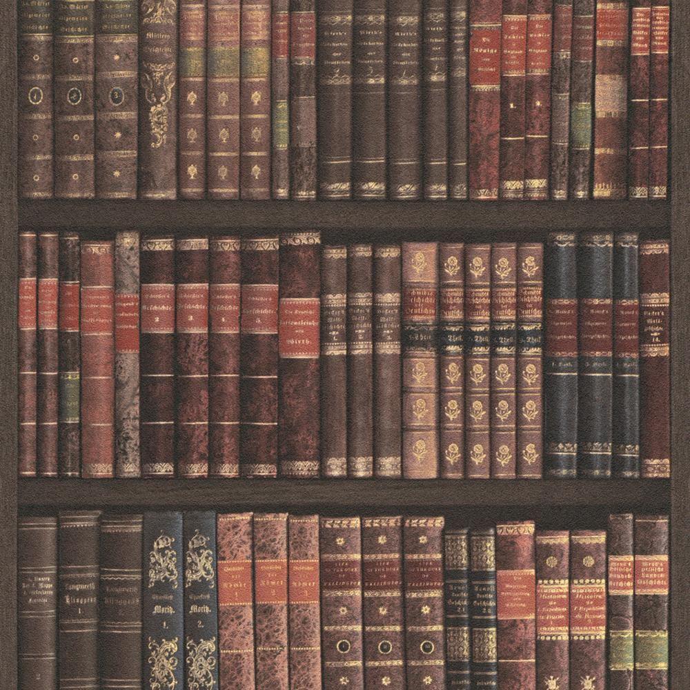 Rasch Book Shelf Pattern Wallpaper Books Case Library