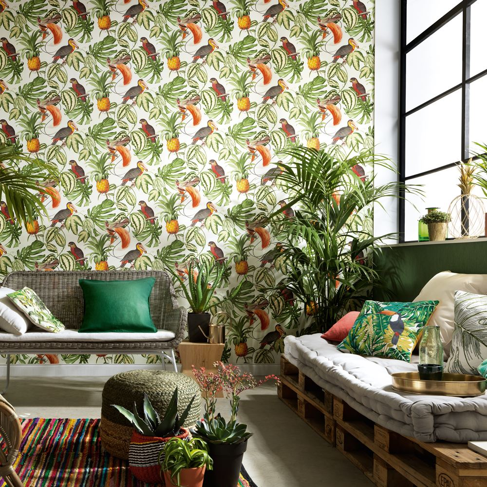 erismann paradiso tropical motif oiseau papier peint jungle feuille textur ebay. Black Bedroom Furniture Sets. Home Design Ideas