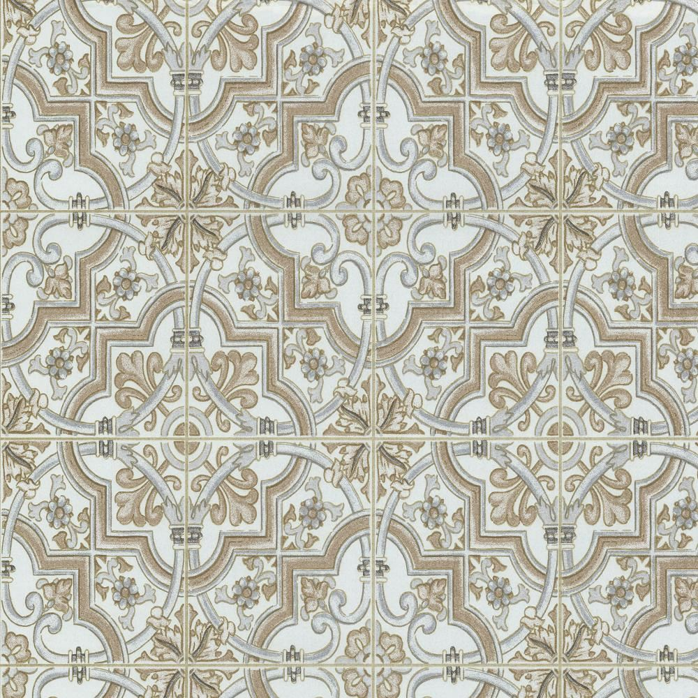 P s international baroque tile pattern wallpaper faux for Textured tile wallpaper