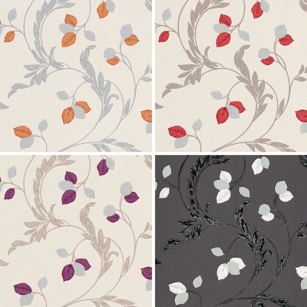 Erismann Shimmer Wallpaper 9782-21 Textured Feature Foliage Leaf Trail Glitter