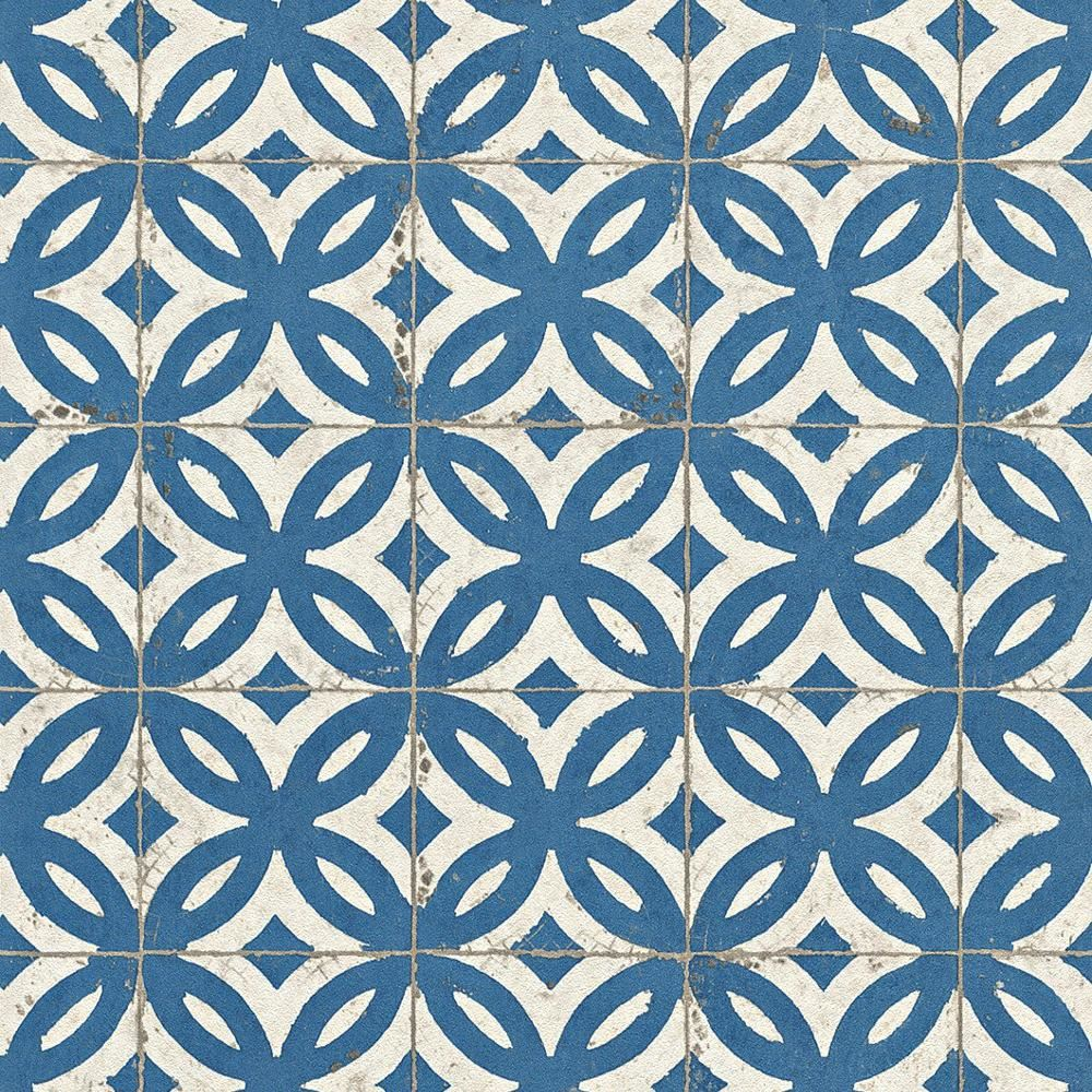 Rasch Faux Effect Tile Pattern Wallpaper Realistic Vintage Abstract ...