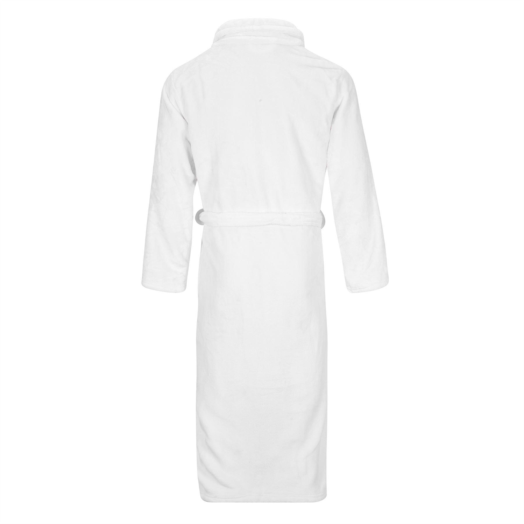 White Unisex Silk Touch Fleece Bathrobe Dressing Gown Mens