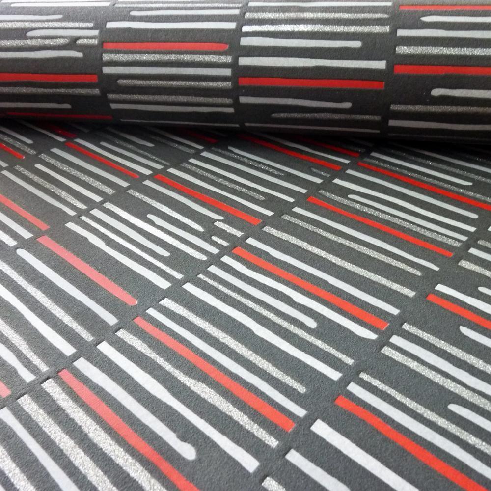 P S International Bande Horizontale Motif Papier Peint Metallique