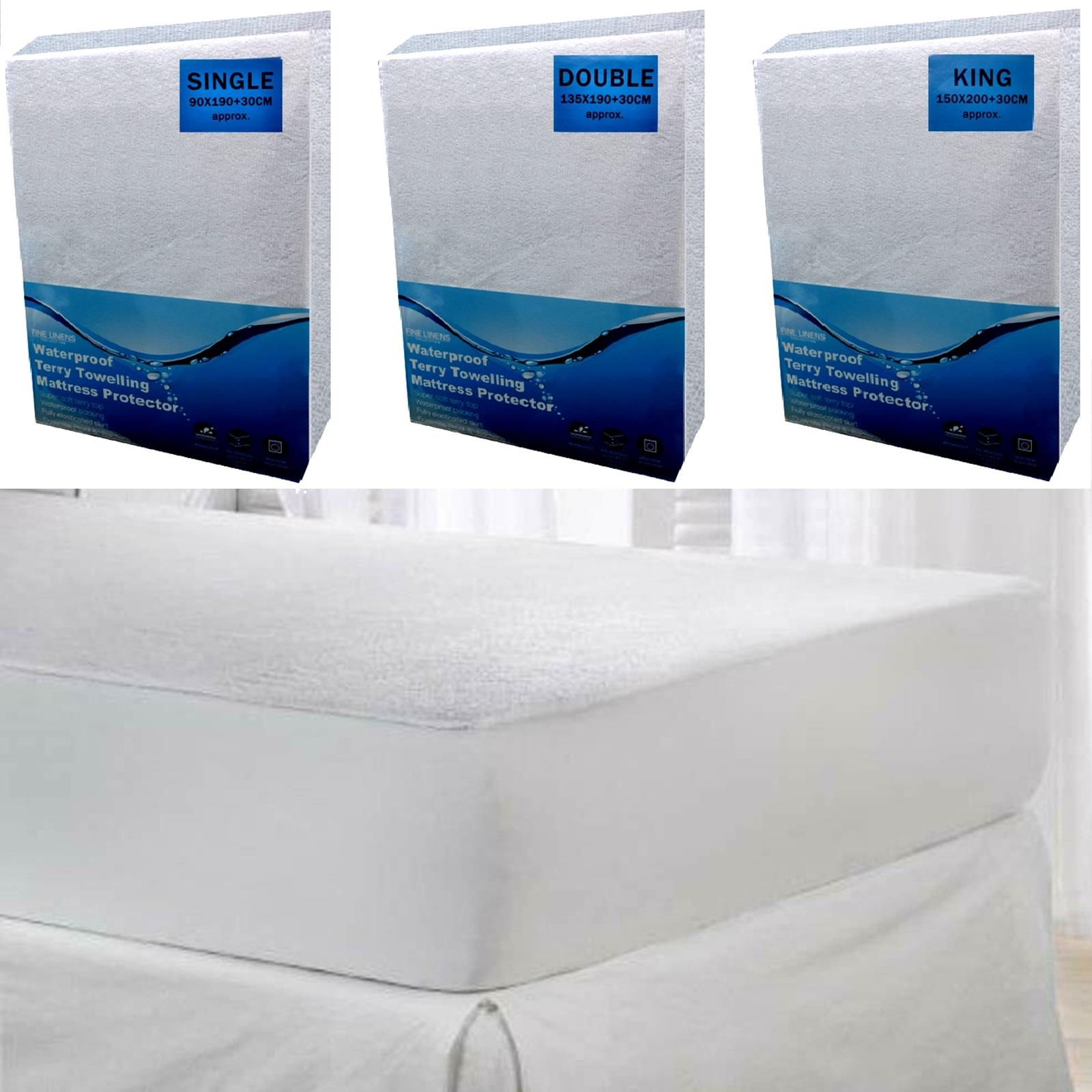 Queen Size Mattress Protector Bed Sheet Cover Waterproof Fitted Terry Cloth Top