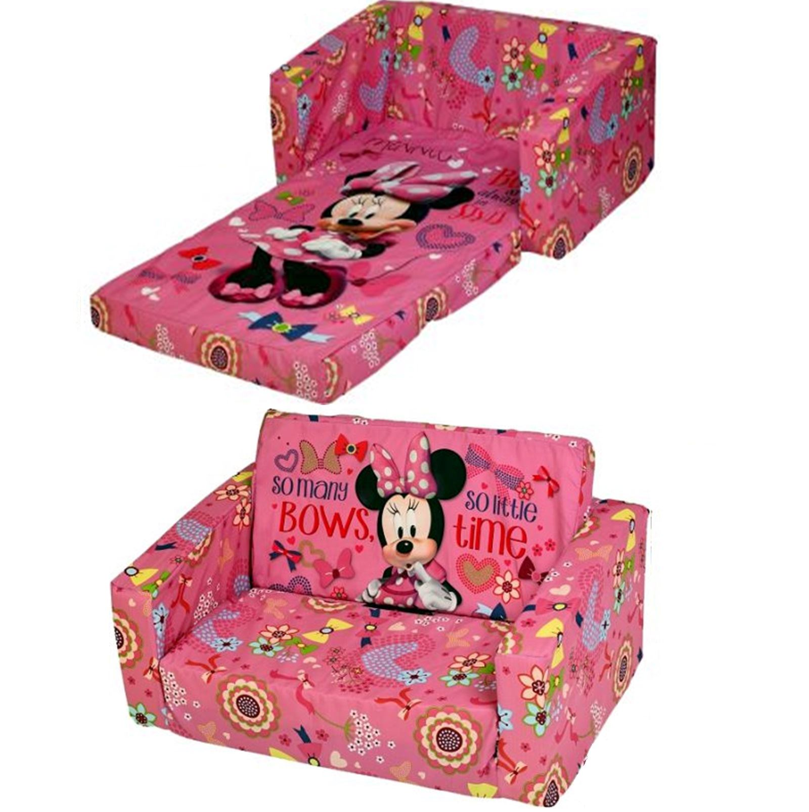 Disney Minnie Mouse Flip Out Double Foam Sofa Settee Kids Couch