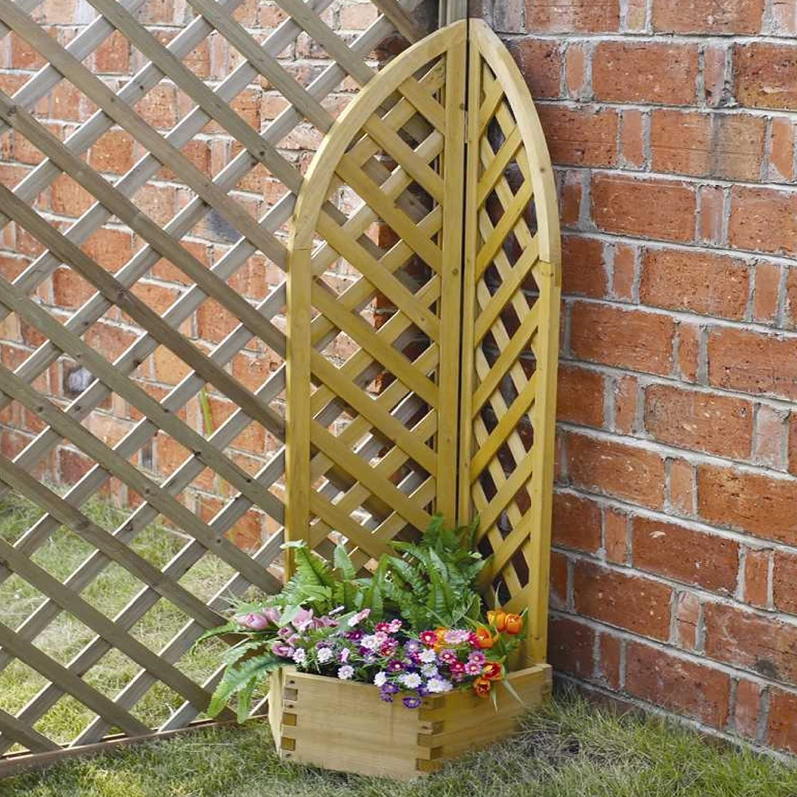 Wooden Corner Planter With Lattice Vine Garden Climbing Flower Plant ...